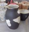 Vase et bols en grès